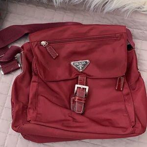 **Authentic** Prada burgundy nylon messenger bag